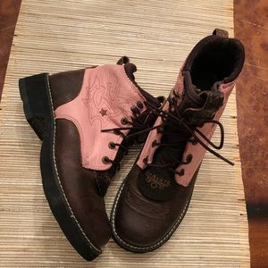 Ariat Shoes - Ariat Brown/Pink lace-up Ankle Boots NWOT